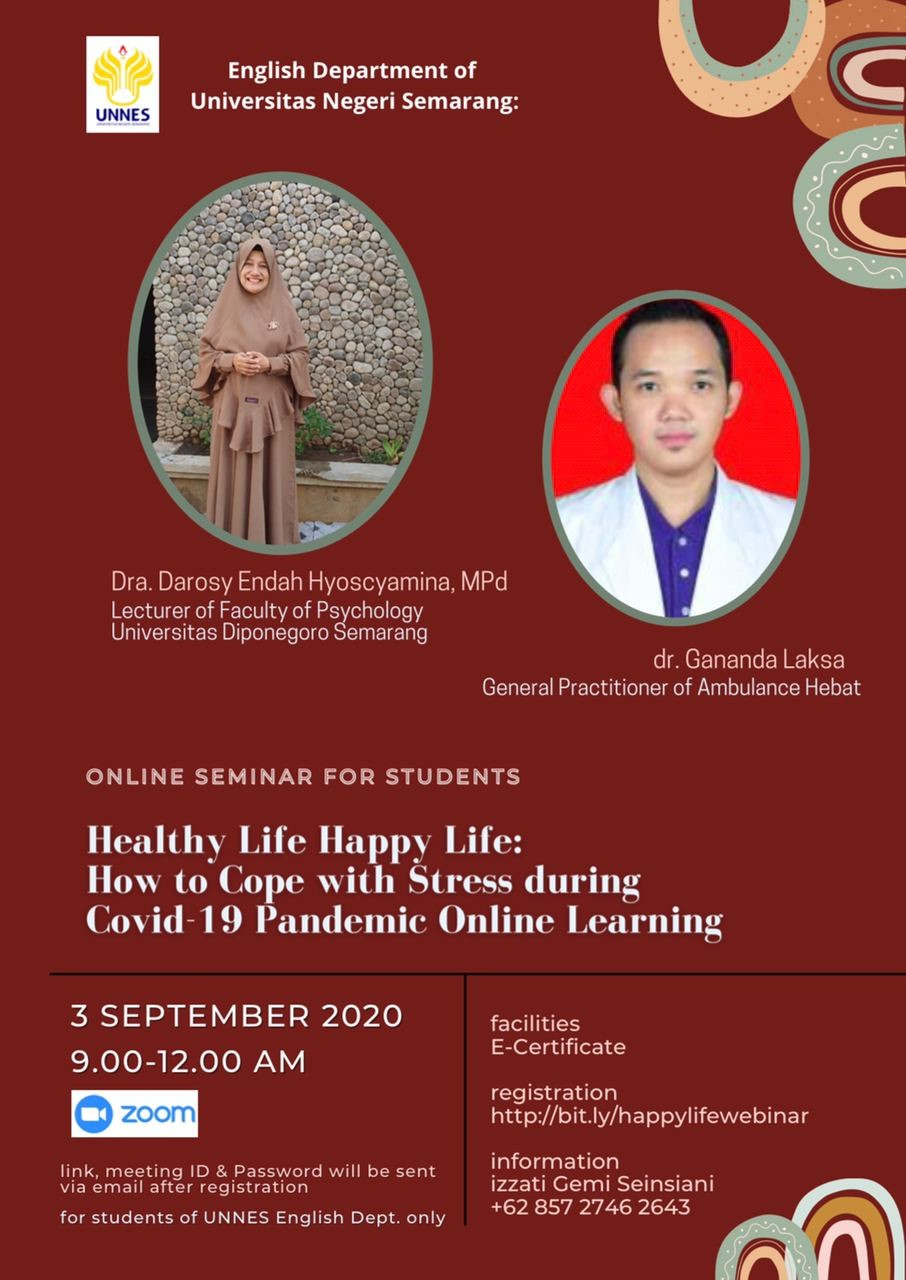 Online Seminar for Students of Healthy Life Happy Life: How to Cope with Stress during COVID-19 Pandemic Online Learning